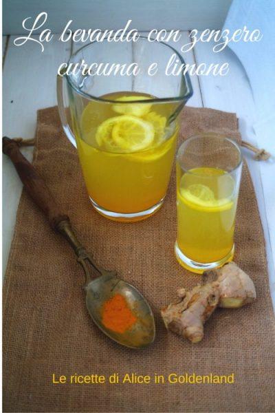 Bevanda  con zenzero, curcuma e limone