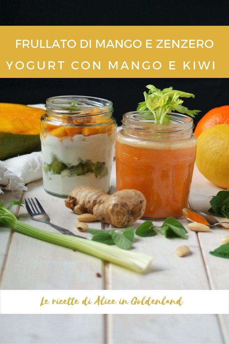 frullato di mango e zenzero, yogurt con mango e kiwi