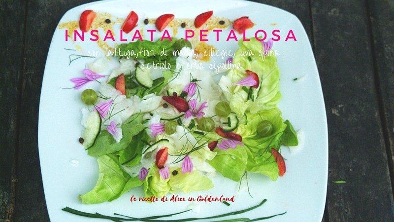 Insalata petalosa: lattuga, fiori di malva, ciliegie, uva spina, cetriolo, erba cipollina
